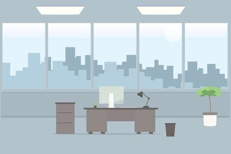 Table in office room. Cartoon flat image 向量圖像