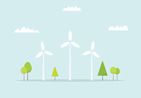 windpower: Wind farm. Cartoon windmill. Simple flat image Illustration