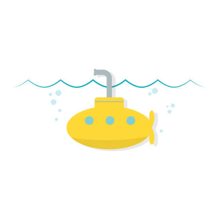 cartoon submarine: Yellow cartoon simple submarine Illustration