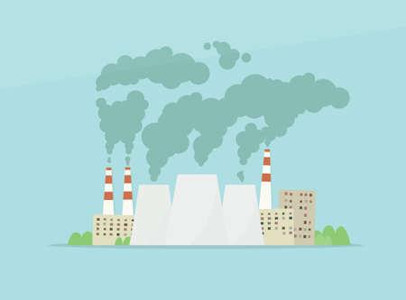 air pollution cartoon: cartoon vector factory. air pollution Illustration