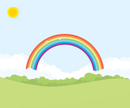 cartoon grass: landscape with rainbow over forest Illustration