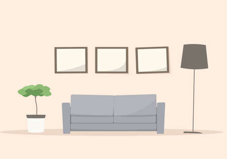 living room sofa: Living room with sofa. Cartoon vector image Illustration