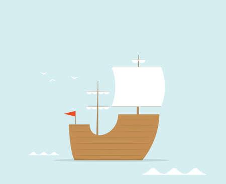 frigate: cartoon frigate flat vector ship