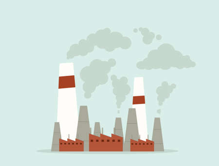 cartoon factory. air pollution. vector flat image