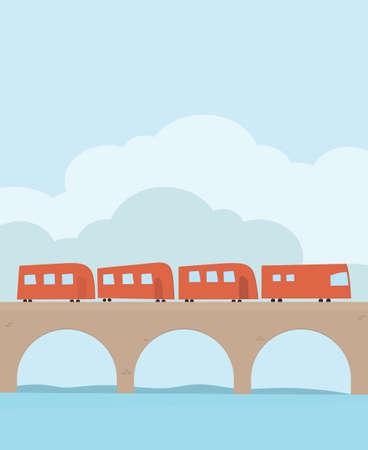 Entrenar en el ferrocarril a través del puente