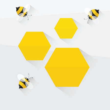 bees and honeycomb. flat design