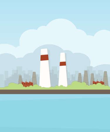 haze: industrial landscape cartoon image