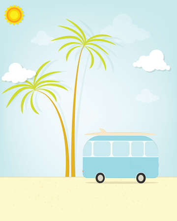 camper: travel bus with palm