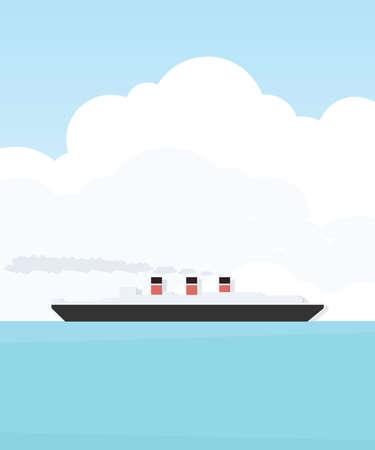 steamship: Steamship. Cartoon flat simple image Illustration