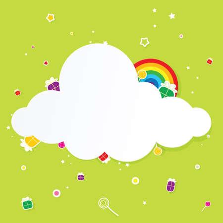 marco cumpleaños: nube de fiesta con el arco iris Foto de archivo