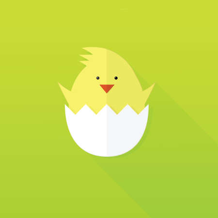 chick: flat paper Easter chick Stock Photo