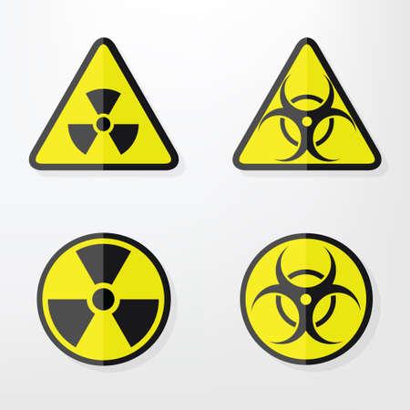 hazardous waste: Set of flat paper Triangular and Round Warning Hazard Signs