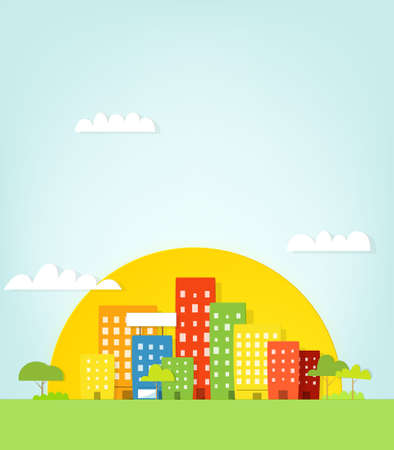 Colorful city. Urban landscape Illustration