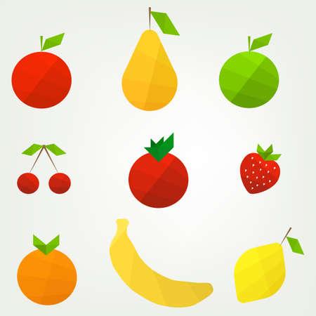 flat fruit set . low poly