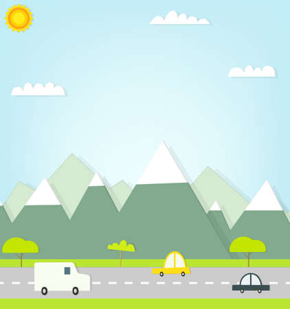 cars on road: flat paper cars on road