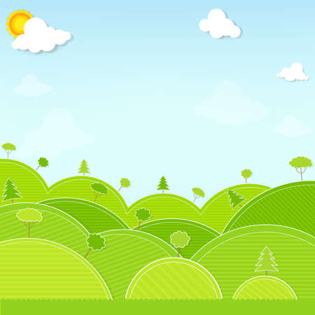 papercraft: landscape hill and tree illustration vector