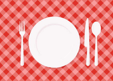lunch table: Empty plate on red checkered tablecloth. vector image