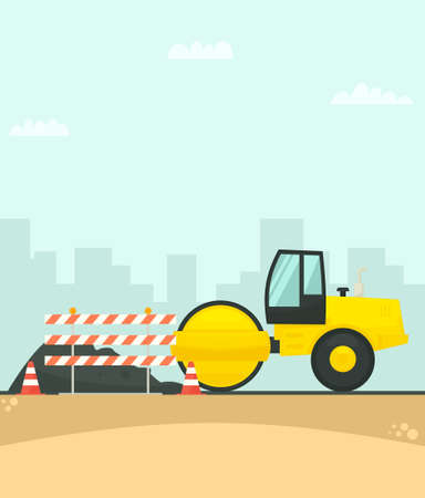 Road roller working on the construction of new road in the city Illustration