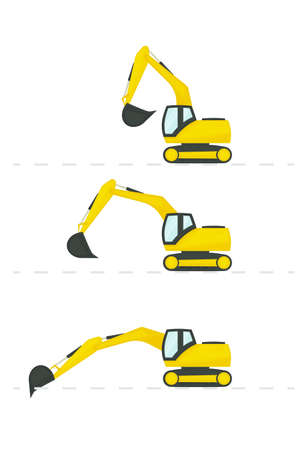 vector excavator with different position of the bucket