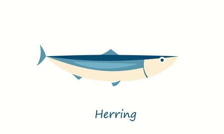 Herring fish isolated on white. vector cartoon image
