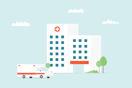 medical clinic building with ambulance car Illustration