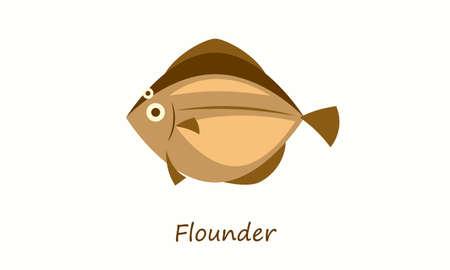 Flounder fish isolated on white. Simple flat image Illustration