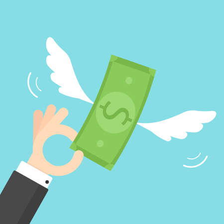 hand holding paper: Hand holding money with wings Illustration