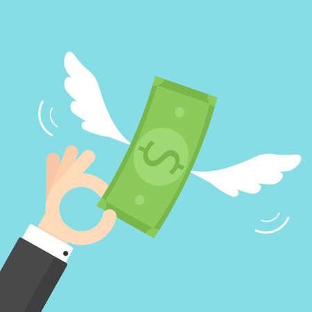 Hand holding money with wings Ilustração