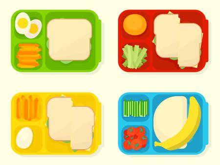 open plastic school lunch box Illustration