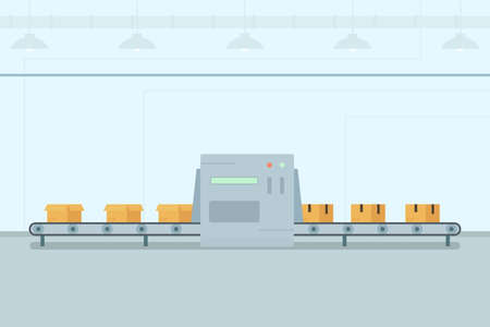 Conveyor belt with boxes Illustration
