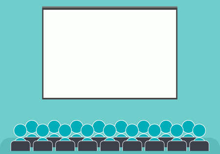 briefing: large conference hall with blank screen Illustration