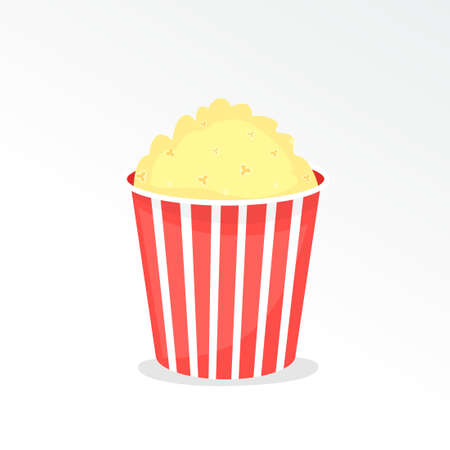 full popcorn bucket. Vector illustration isolated on white background
