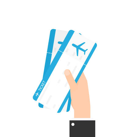 Hand holding two air tickets Illustration