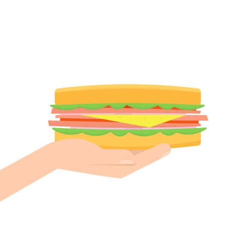 hand holding sandwich Illustration