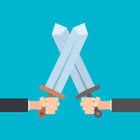 crossed arms: hands holding swords Illustration