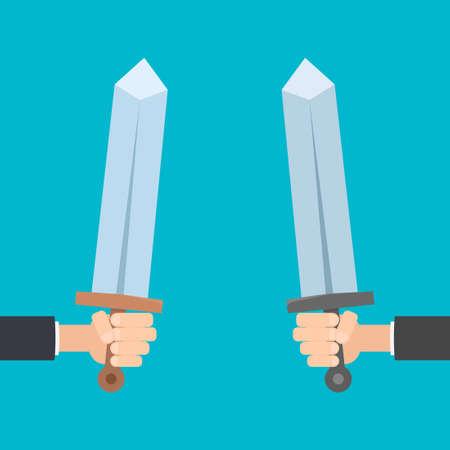 hands holding swords Illustration