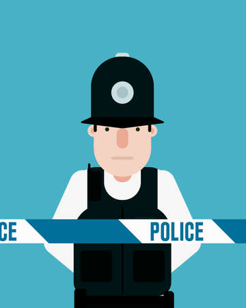 cordon: British police officer, police tape Illustration