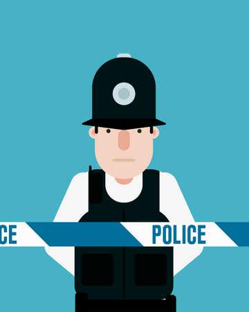 British police officer, police tape Illustration
