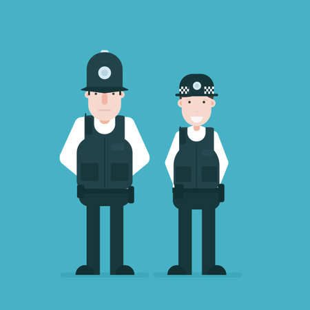 British police officers. Vector illustration isolated on green