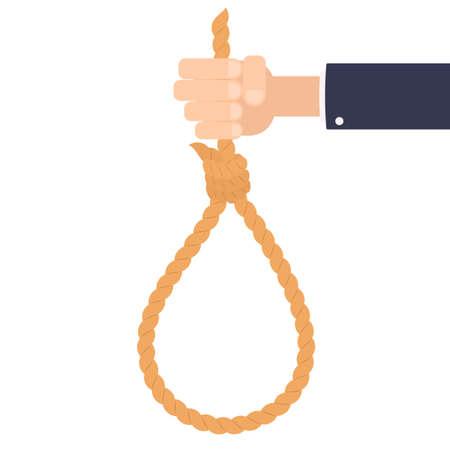 自殺ロープを持つ手
