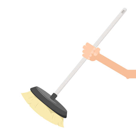whisk broom: hand holding broom
