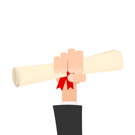 hands tied: hand with diploma or certificate