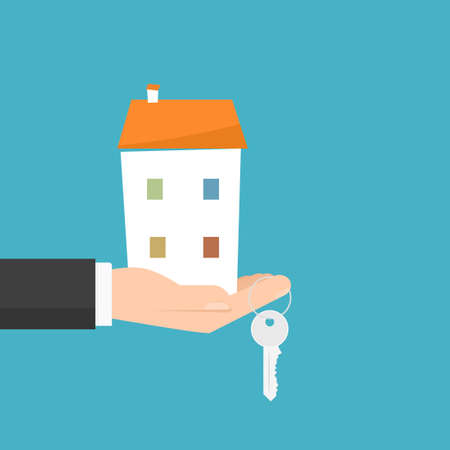 hand holding house and key. Vector illustration