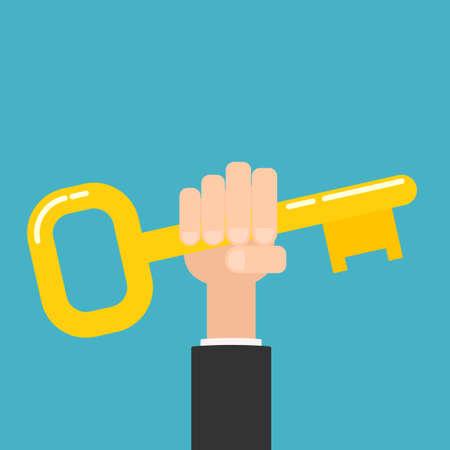 hand holding golden key. Vector illustration isolated