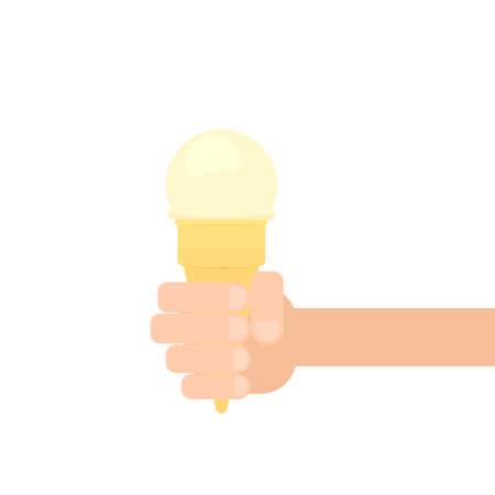 hand holding ice cream cone. Vector illustration isolated on white background Çizim