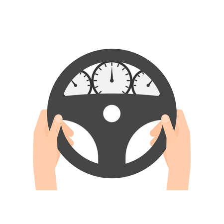 car speed: hand behind wheel. Vector illustration isolated on white background