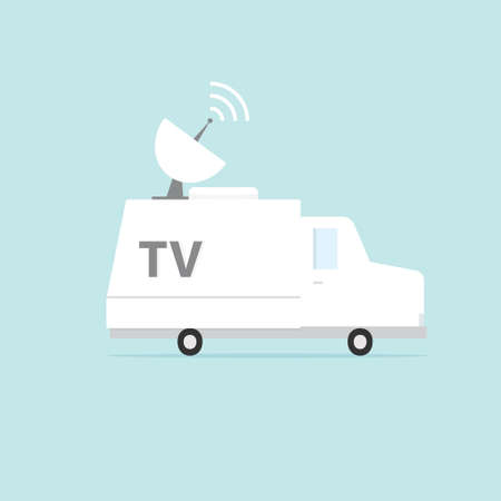 white tv van. Vector illustration isolated on background Illustration