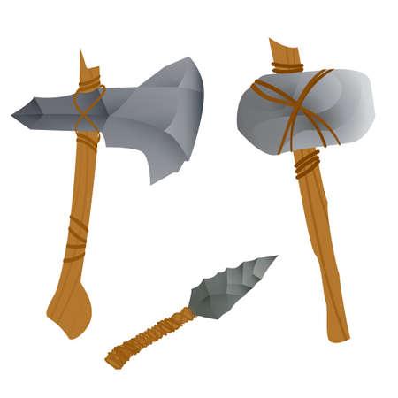 石器時代の武器。白い背景で隔離のベクトル図
