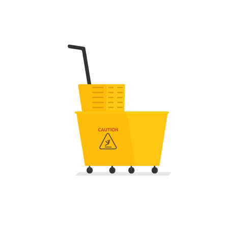 Yellow cleaning cart. Vector illustration isolated on white background Illustration