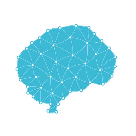 geometric human brain in triangles. Vector illustration isolated on white background